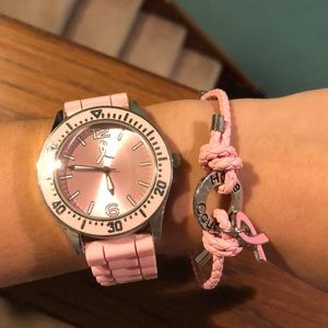 Breast cancer awareness watch and bracelet set